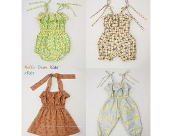 R67/ Sewing pattern/PDF sewing pattern/4 Bundle strap pants, romper and dress/Kids sewing pattern pattern/baby sewing pattern/3M~12Y