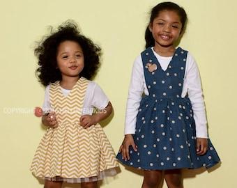 kids sewing pattern pdf/ girl's v-neck dress/ baby sewing pattern/ children clothing/Toddler sewing pattern/12M-5years