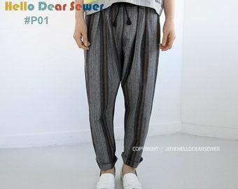 Women's PDF Sewing Pattern pants / String pants / women pants - Regular fit - (sizes XXS-XL) P01