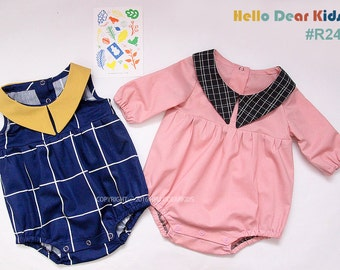 R24/ Sewing pattern / PDF sewing pattern / Romper with collar / Baby romper pattern / baby sewing patterns / romper pattern / New born to 2T