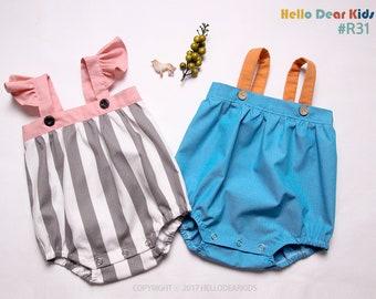 Kids Sewing pattern / PDF sewing pattern / Big Strap Romper / Baby romper pattern / baby sewing patterns / romper pattern / New born to 2T