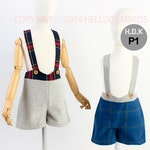 Kid's sewing pattern pdf/Toddler Kid's suspender pants / for Christmas/ overall/ All in one with plaid pattern, sizes 2T to
