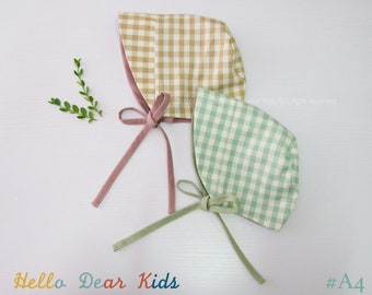 A4/ Baby sewing pattern / kids sewing pattern pdf / Baby reversible bonnet/  / kid's bonnet/ Baby beanie / sizes 3M~3years