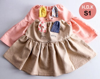 Girl's sewing pattern pdf, Girl's skirt with bunny ears, sizes 2T to 7T.