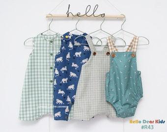 R43/ Sewing pattern / PDF sewing pattern / 4 Bundle Romper / Baby romper pattern / baby sewing patterns / romper pattern / New born to 2T