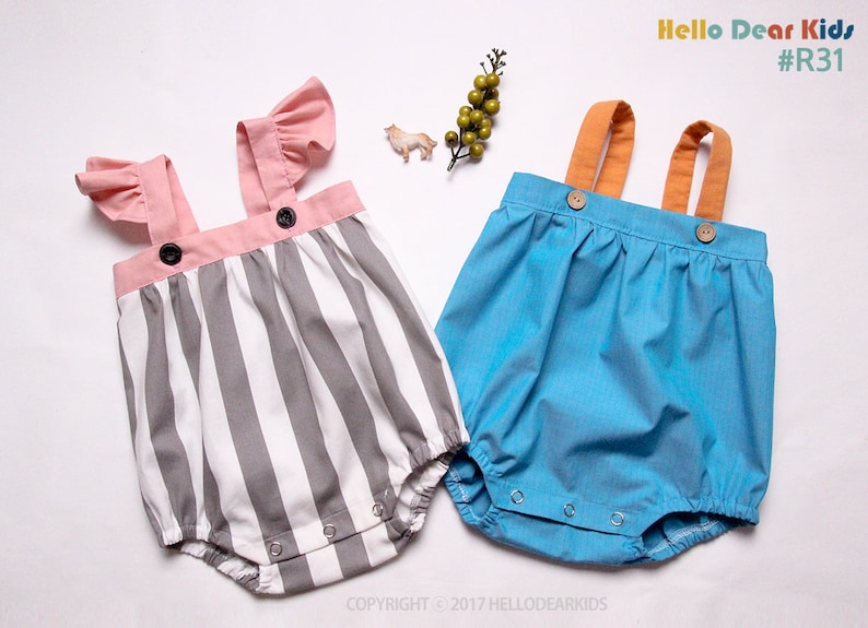 Kids Sewing pattern / PDF sewing pattern / Big Strap Romper / image 0