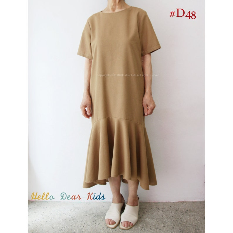 Women's PDF Sewing Pattern/ Blouse and Dress with pleated image 0