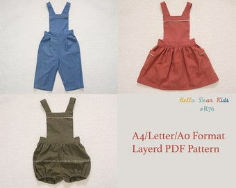 R76/ kids Sewing pattern/PDF sewing pattern/Bundle skirt, pants and romper/ A0 and A4 or letter size/Layered PDF Sewing Patterns/ 3M~12Y