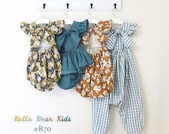 R70/ Sewing pattern/PDF sewing pattern/4 Bundle  dress,  romper, top  and pants/Kids sewing pattern pattern/baby sewing pattern/3M~12Y