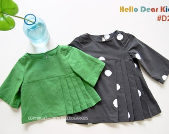 D25/ Kid's sewing pattern pdf/Toddler Kids/ Little Girl dress and blouse / pleated dress & blouse/ sizes 2T to 7Years.