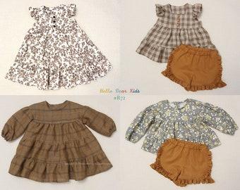 R72/ Sewing pattern/PDF sewing pattern/4 Bundle dress and frill pants/Kids sewing pattern pattern/baby sewing pattern/3M~12Y
