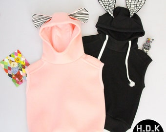 Kid's sewing pattern pdf/ Toddler vest/ Bunny hoodie vest/ Rabbit hoodie vest / kids vest Size 2T-9years