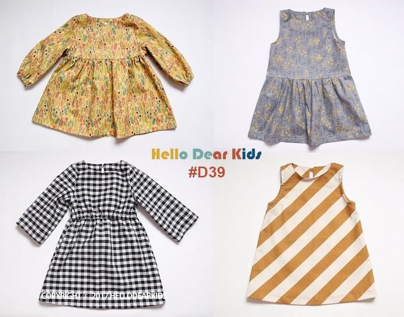 D39 / Kids Sewing pattern /PDF sewing pattern/4 Basic dress  image 0