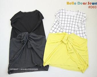 Women's PDF Sewing Pattern  Knit / Jersey Dress / Jersey Tunic/  2 way style - Regular fit - (sizes XXS-XL) D03