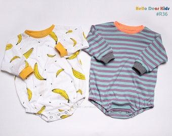 R36/ Kids Sewing pattern / PDF sewing pattern / Baby Romper / Baby romper pattern / Baby T-shirts romper  / New born to 2T