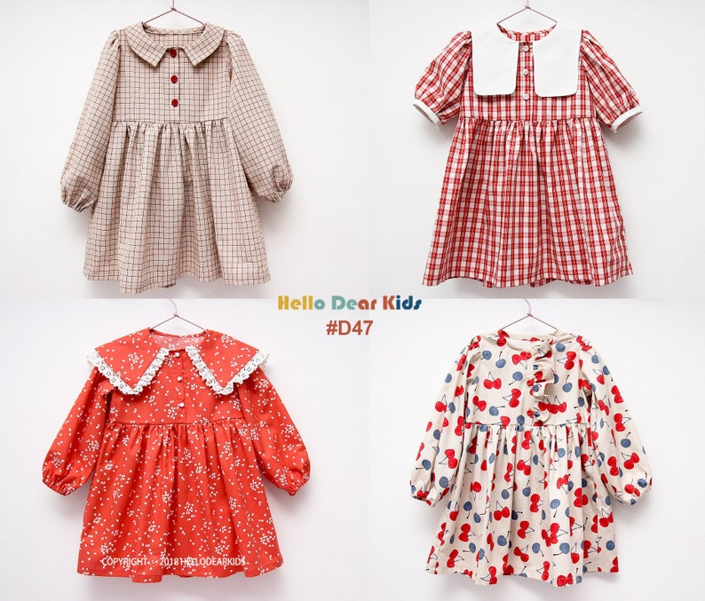 D47 / Kids Sewing pattern /PDF sewing pattern/4 dress with image 0