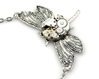 Steampunk Dragonfly Pendant - mechanical clockwork dragonfly necklace Steampunk Gift Idea