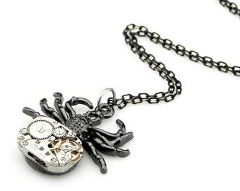 Black Widow Pendant -  clockwork spider pendant - Black Tarantula Spider Necklace - Steampunk gift idea