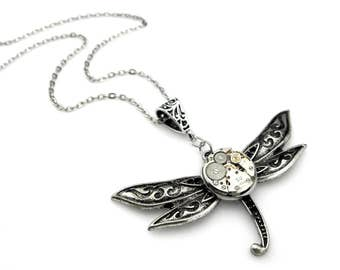 Geek Dragonfly Pendant - Clockwork Watch Insect Pendant (mechanical watch movement) Steampunk Inspired