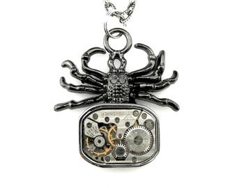 Halloween Spider Pendant - Clockpunk Tarantula pendant - Black Widow Pendant -  Black Tarantula Spider Necklace - Steampunk gift idea
