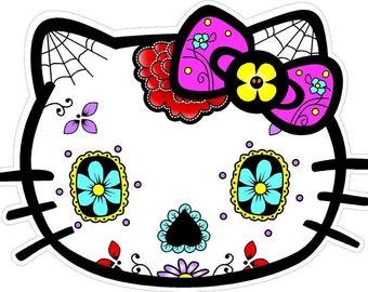 Hello Kitty Sugar Skull Sticker Decal 0