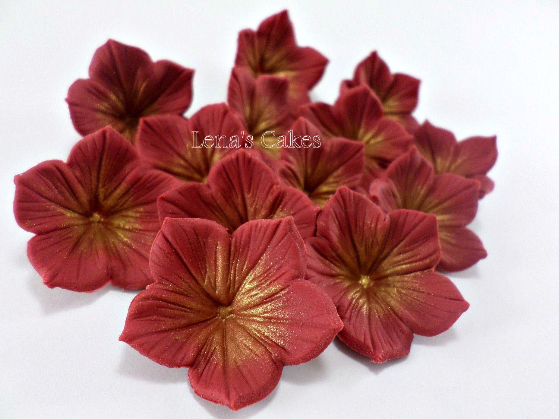 24 Burgundy Sugar Flowers Edible Red Wedding Cake Topper Etsy