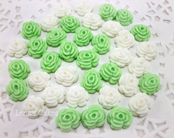 50 Sugar Mini Flowers, Fondant Roses, Cakepop Flowers, Edible Decoration, Wedding Cake Cupcake, Baby Shower Bridal, Edible Candy Favors