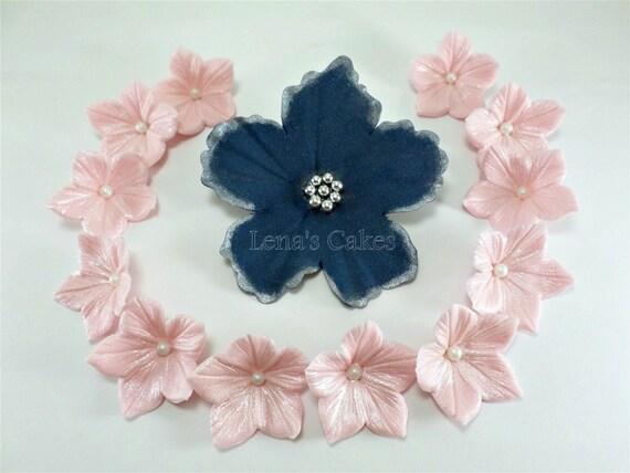 Set 27 fondant flowers for cakes edible sugar flower gumpaste navy il570xn mightylinksfo