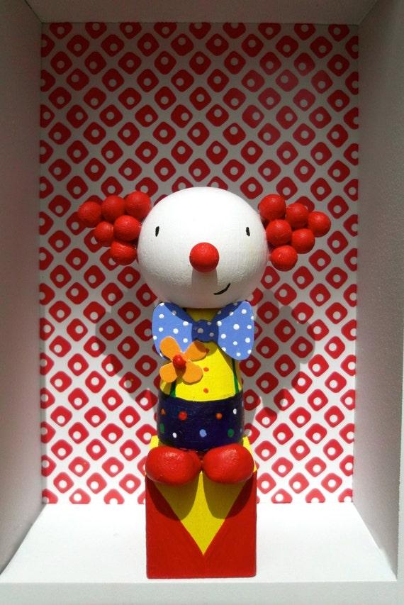 Phenomenal Clown Birthday Cake Topper Hand Painted Wooden Doll Etsy Funny Birthday Cards Online Inifodamsfinfo
