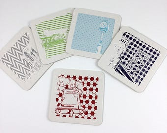 Philadelphia Coasters | Letterpress Printed Pack of 5 Coasters