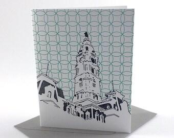 Philadelphia Letterpress Card | Philadelphia City Hall | gray & turquoise single blank card with envelope