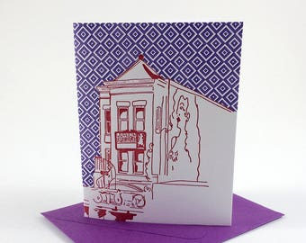 Washington D.C. Letterpress Card | Madam's Organ | red & purple single blank card with envelope