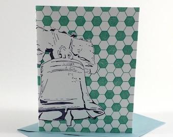 Philadelphia Letterpress Card | Liberty Bell | purple & turquoise single blank greeting card with envelope