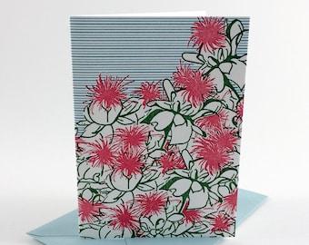 Safflower | Letterpress Card | single blank greeting card with envelope | floral letterpress greeting card