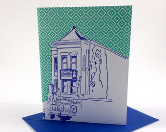 Washington D.C. Letterpress Card | Madam's Organ | blue & green single blank card with envelope