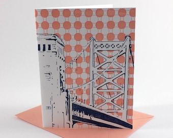 Philadelphia Letterpress Card | Benjamin Franklin Bridge | navy & coral single blank greeting card with envelope
