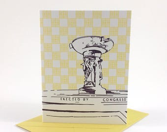 Washington D.C. Letterpress Card | DuPont Circle Fountain | purple & yellow single blank card with envelope
