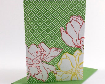 Tulip Flower | Letterpress Card | single blank greeting card with envelope | floral letterpress greeting card