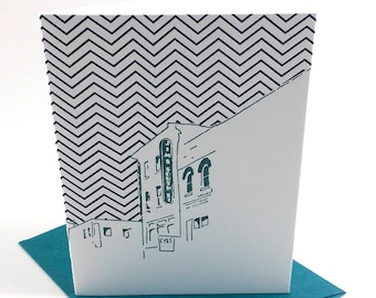 Philadelphia Letterpress Card | South Street Headhouse District | teal & navy single blank greeting card with envelope