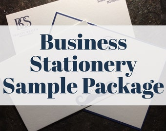 Business Stationery SAMPLE PACKAGE | Custom Stationery | Letterpress or Digitally Printed Correspondence Card | Business Partners Cards
