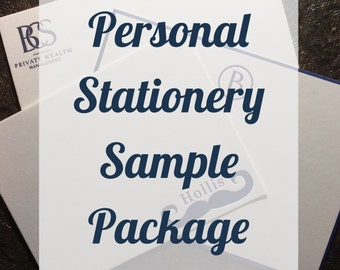 Personal Stationery SAMPLE PACKAGE | Custom Family Stationery | Letterpress or Digitally Printed Correspondence Card | Letterpress Flat Card