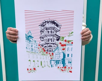 "Baltimore Maryland | Blooming Baltimore | Limited Edition Silk Screen 16"" x 20"" poster"