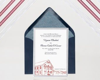 Letterpress Wedding Invitation Suite | Clean Wedding Invitation Suite | Illustrated Wedding Invitations