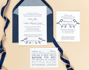 Letterpress Wedding Invitation Suite with Website Card | Traditional Wedding Invitation Suite | Floral Wedding Invitations