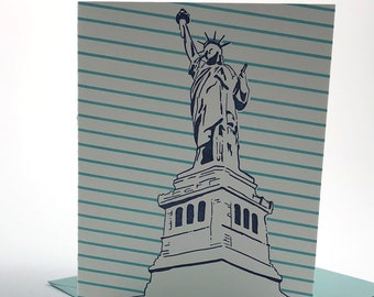 New York City Letterpress Card | Statue of Liberty | navy & teal blank card with envelope