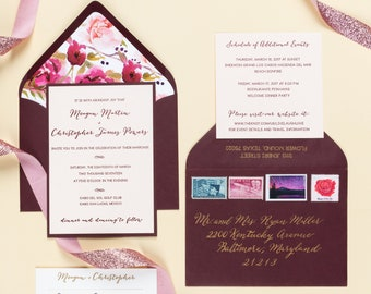 Letterpress Wedding Invitation Suite with Calligraphy | Traditional Wedding Invitation Suite | Floral Wedding Invitations