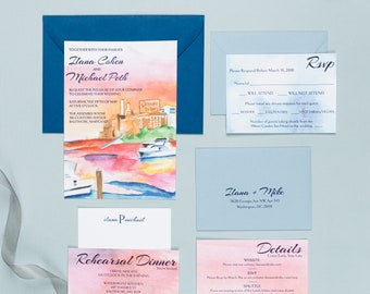Letterpress Wedding Invitation Suite | Modern Wedding Invitation Suite | Watercolor Wedding Invitations