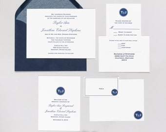 Letterpress Wedding Invitation Suites | Modern Monogram Wedding Invitation | Classic Wedding Invitation | Handmade Wedding Invitations