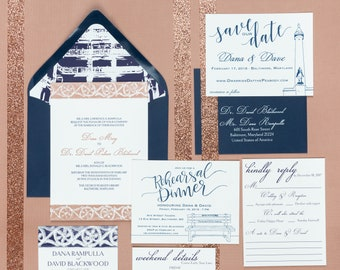 Letterpress Wedding Invitation Suite | Modern Wedding Invitation Suite | Classic Wedding Invitations