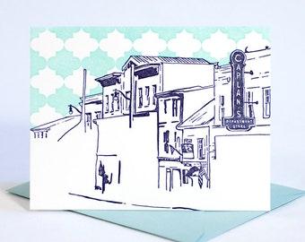 SALE | Ellicott City Maryland Letterpress Card | Main Street | purple & aqua single blank card with envelope